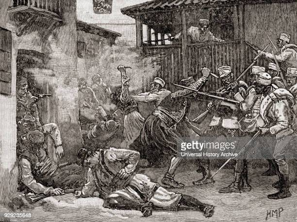 Street battle in Sarajevo between the AustroHungarian army and the Ottoman supported local resistance Occupation of Sarajevo in 1878 by Austro...