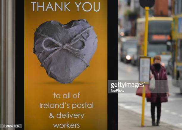 Street billboard 'Thank You, to all of Ireland's postal & delivery workers' message seen in Dublin city center during Level 5 Covid-19 lockdown....