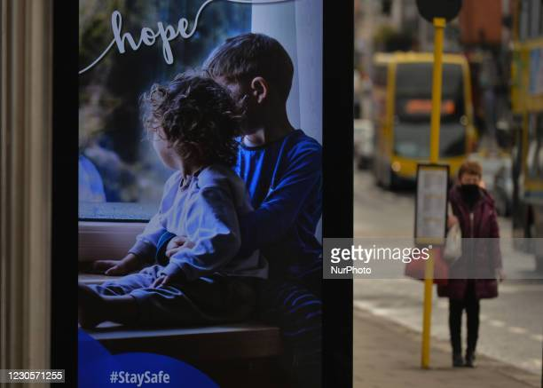 Street billboard with 'Hope' message seen in Dublin city center during Level 5 Covid-19 lockdown. On Wednesday, 13 January in Dublin, Ireland.
