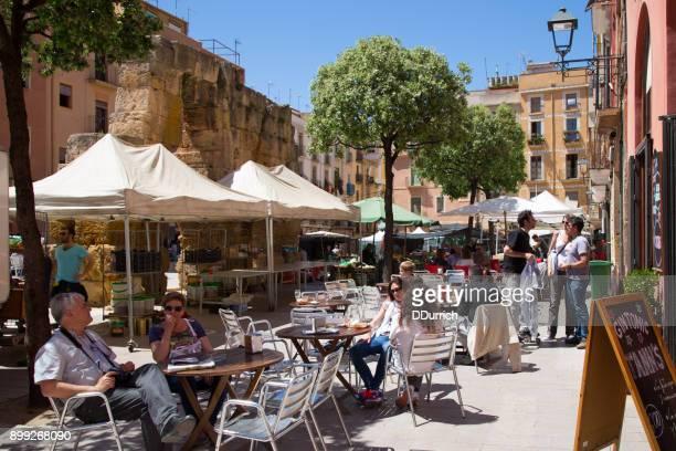 street cafe in tarragona spain - tarragona stock photos and pictures