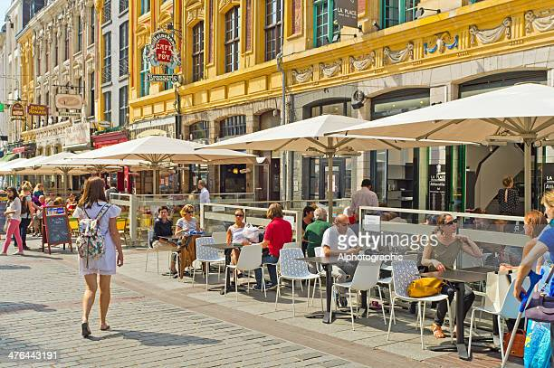 street cafe restaurant in lille france - lille stock pictures, royalty-free photos & images