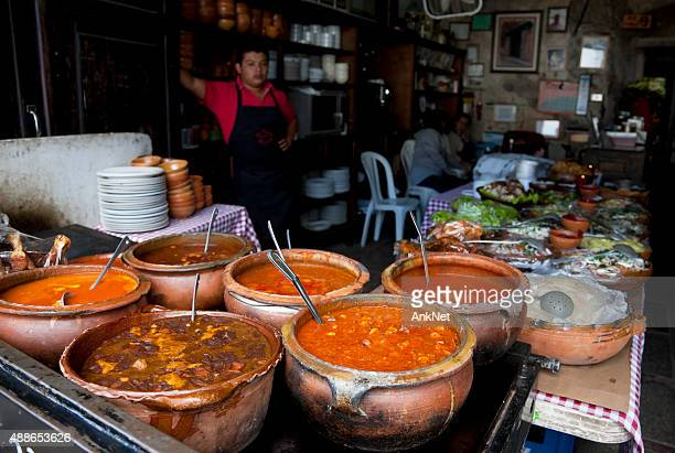street cafe with guatemalan soups and chilis - tripe stock pictures, royalty-free photos & images