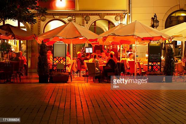 Street Cafes in Market Square at Night, Cracow, Poland