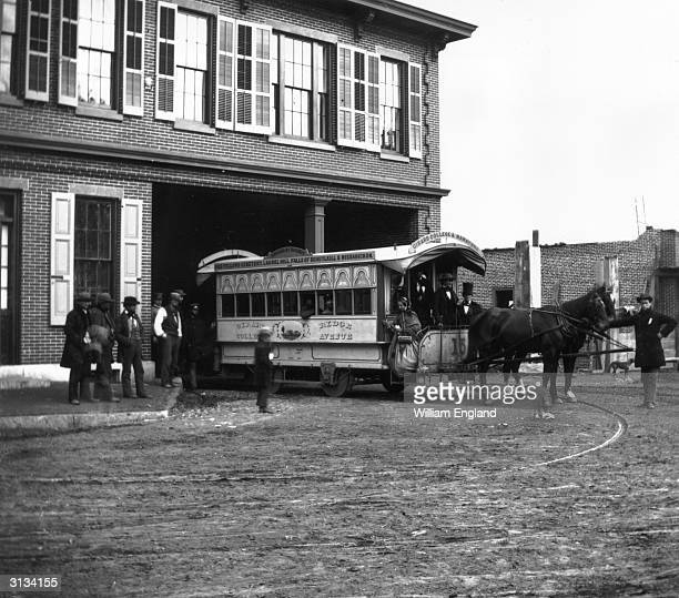 A street car in Philadelphia Pennsylvania advertising tours of the Odd Fellows Cemetery Laurel Hill Schuylkill and Wissahickon Falls Girard College...