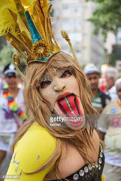 street carnival in rio - transvestite stock photos and pictures