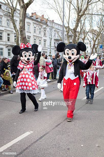 street carnival in wiesbaden 2014 - minnie mouse stock pictures, royalty-free photos & images