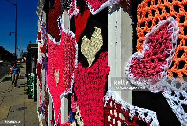 H street celebrates completion of construction with an Art Walk including this yarn bombing with macrame hearts adorning Jimmy Valentine's on June...