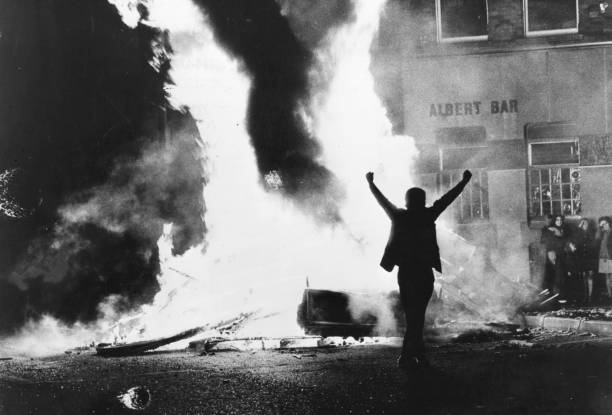 A street celebration in east Belfast of the fall of...