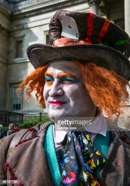 A street character impersonating the Johnny Depp character from 'Alice in Wonderland' works the crowds for tips on September 13 in London England...