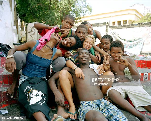 Street children pictured together where they live under a viaduct in the Rodoviaria area of downtown Rio