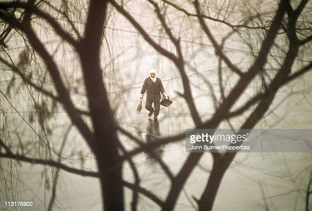 A street cleaner at work North Korea February 1973