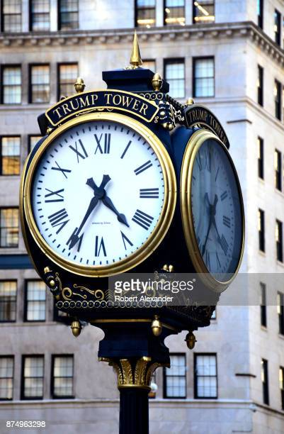 A street clock at the public entrance to Trump Tower on Fifth Avenue in New York New York