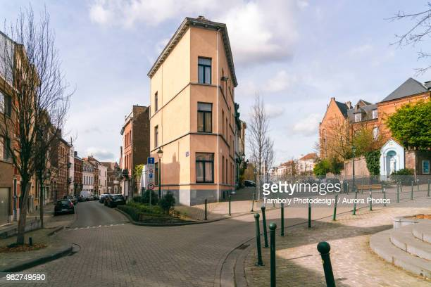 street close to park square ambiorix, brussels, belgium - belgian culture stock pictures, royalty-free photos & images