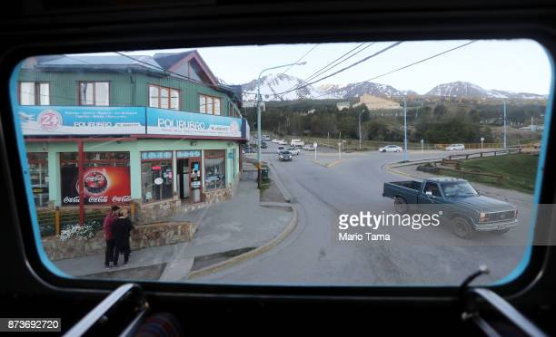 A street corner as viewed from the window of a vintage London Routemaster bus used for tourist tours on November 5 2017 in Ushuaia Argentina Ushuaia...