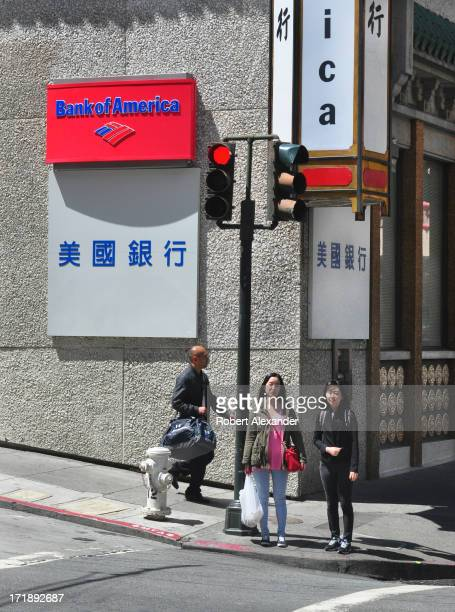 A street corner in the Chinatown section of San Francisco with a Bank of America branch which serves the Chinese community The city's Chinatown...