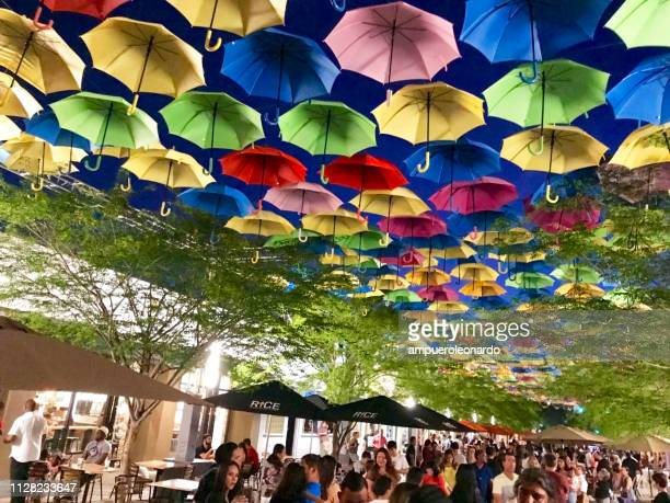 street decorated with colored and open umbrellas in miami, usa - coral gables stock pictures, royalty-free photos & images
