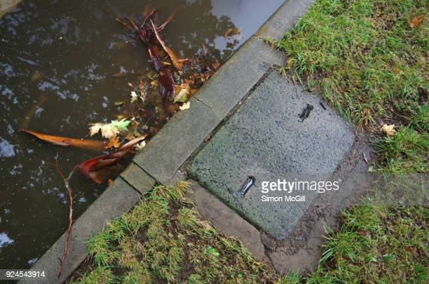 street drain blocked with tree bark and debris causing flooding across a road after torrential rain - heavy rain stockfoto's en -beelden
