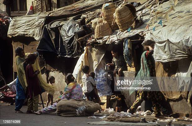 Street Dwellers Bombay India Environmental Refugees From Rajasthan Living On The Streets Of Bombay