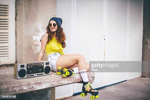 street fashion - roller skating stock photos and pictures