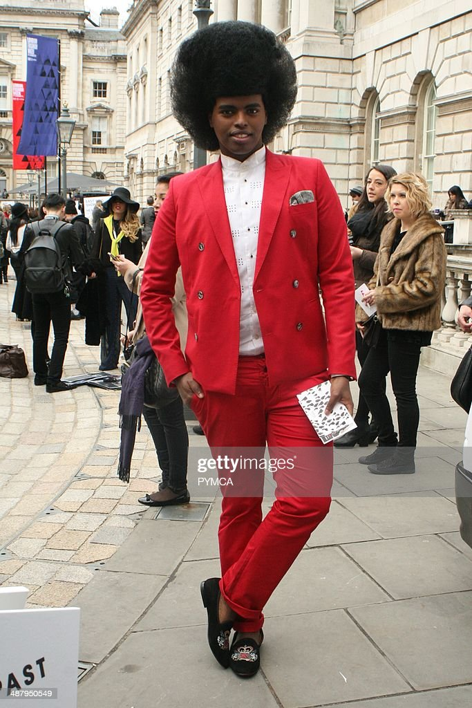 Street fashion portrait. London Fashion Week, Somerset House, February 2012.