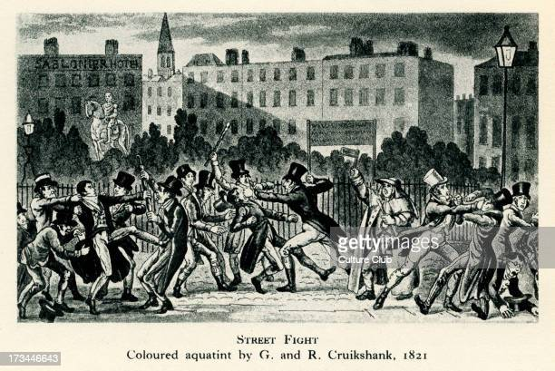 'Street Fight' from aquatint by G And R Cruikshank 1821