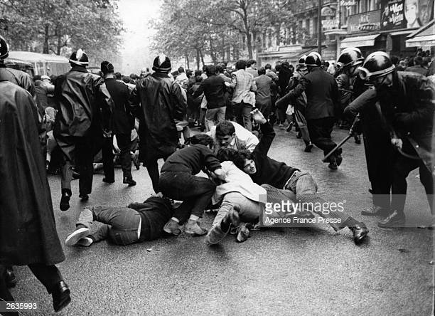 Street fighting between Parisian students and security police on the Boulevard St Michel Paris after the student occupation of the Sorbonne ended