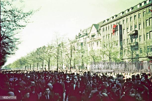 A street filled with people At the Lustgarten Adolf Hitler chancellor of Germany delivered a speech in front of an audience of 15 million people on...