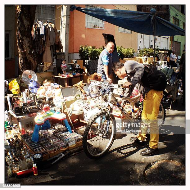 A street flea market in the neighbourhood of Portales Mexico City Mexico Mexico is full of street vendors