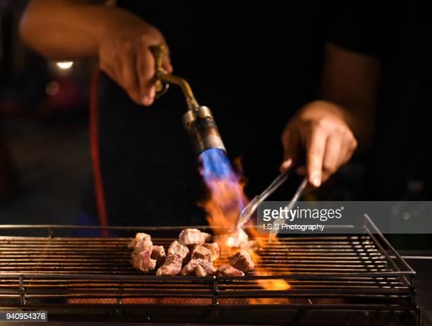 Street food: Flame grilled beef Shilin night market Taipei