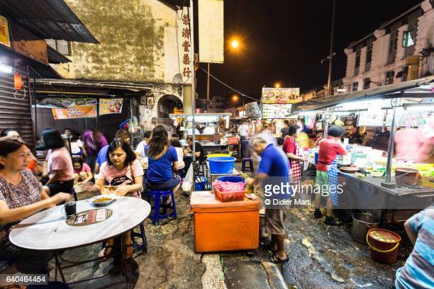 Street food in night market in Georgetown in Penang, Malaysia