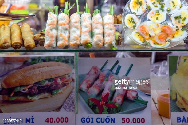 street food menu vietnam - traditionally vietnamese stock pictures, royalty-free photos & images
