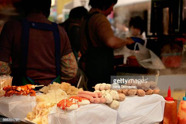 Street food on stick in Hong Kong