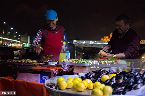 Street Food Sellers in Istanbul Fish Market