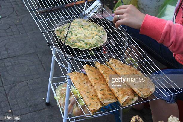 Street Food, Tapioca Sheet with Eggs, Da Lat