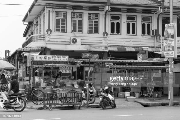street food vendors along macalister road, penang - henry street stock pictures, royalty-free photos & images