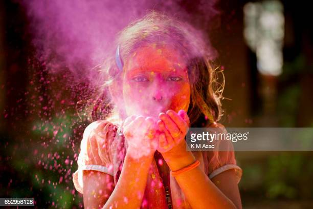 UNIVERCITY DHAKA BANGLADESH A street girl attend celebrate the Holi Festival or Festival of Colors after smearing each other with colored powder in...