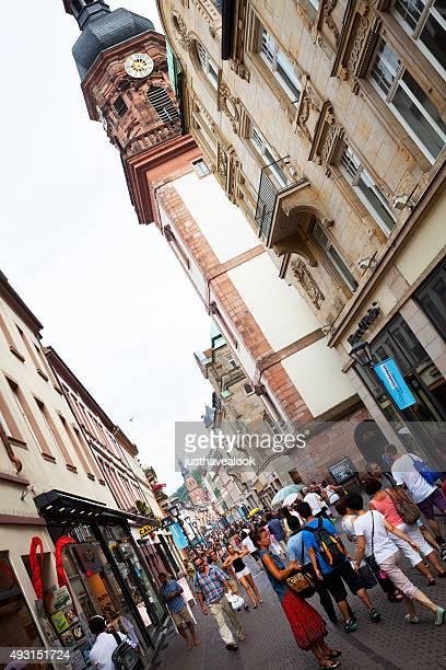 street hauptstraße and providenzkirche in heidelberg - hauptstraße stock pictures, royalty-free photos & images