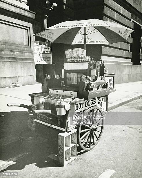 Street hot dogs vendor cart, (B&W)