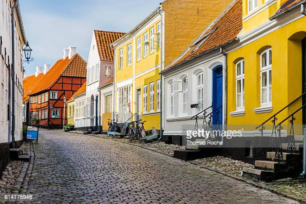 a street in aeroskobing - funen stock pictures, royalty-free photos & images