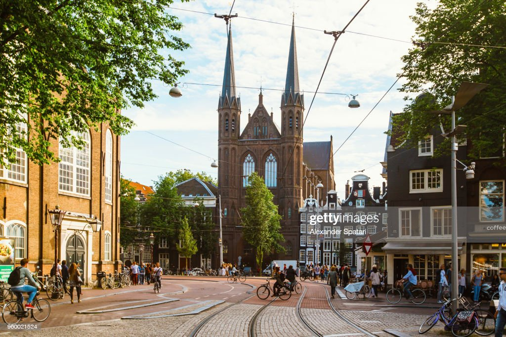 Street in Amsterdam on a bright sunny summer day, Holland, Netherlands : Stock Photo
