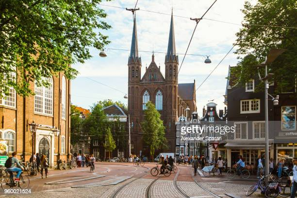Street in Amsterdam on a bright sunny summer day, Holland, Netherlands