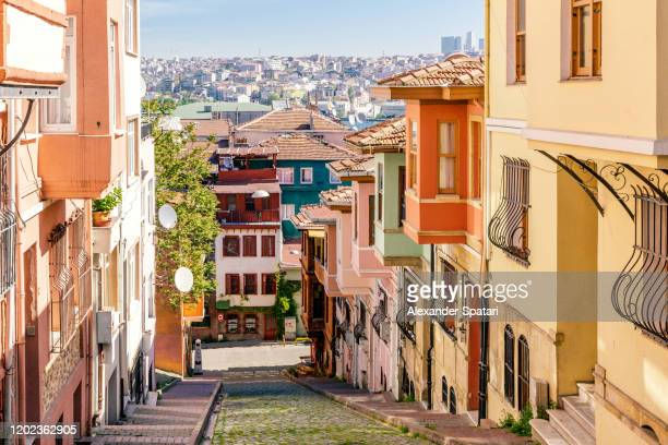 street in balat, istanbul, turkey - istanbul stock pictures, royalty-free photos & images