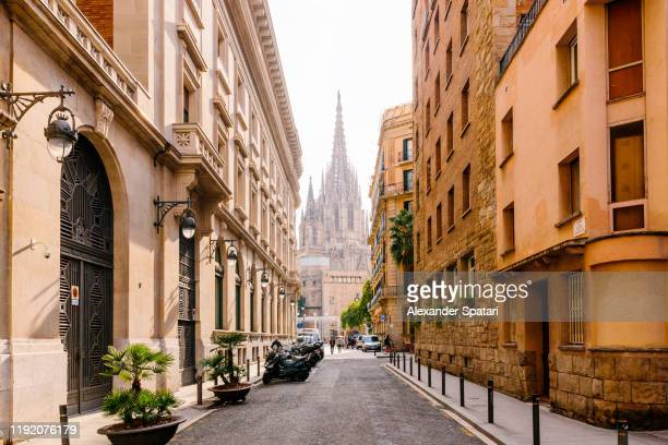 street in barcelona with barcelona cathedral in the center, barcelona, spain - barcelona stock pictures, royalty-free photos & images