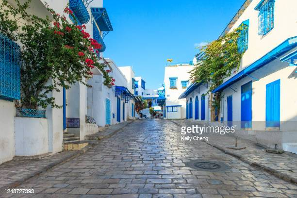 street in beautiful sidi bou said - tunis stock pictures, royalty-free photos & images