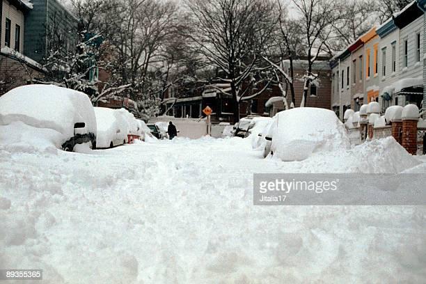 Street in Brooklyn covered in deep snow