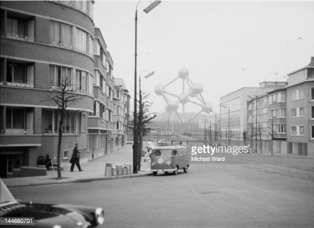 A street in Brussels Belgium with the Atomium visible at the far end 1959 Taken for the 'Let's Go' budget travel guide to Belgium
