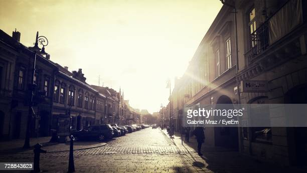 street in city against sky - kosice stock pictures, royalty-free photos & images