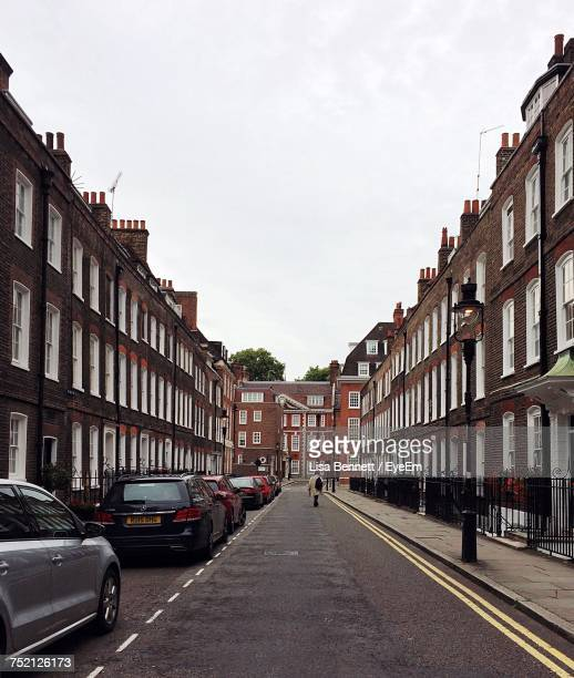 street in city against sky - city of westminster london stock photos and pictures