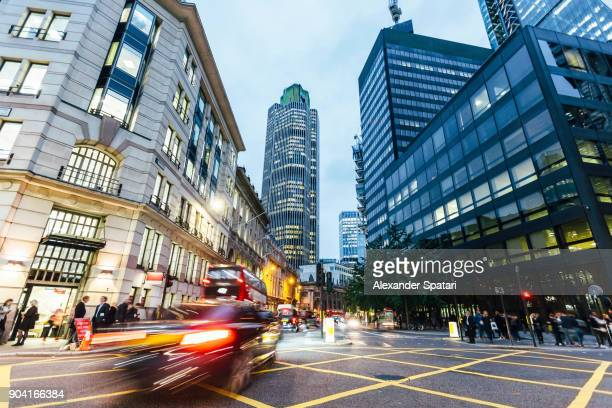 street in city of london in the evening, london, uk - london financial district stock photos and pictures