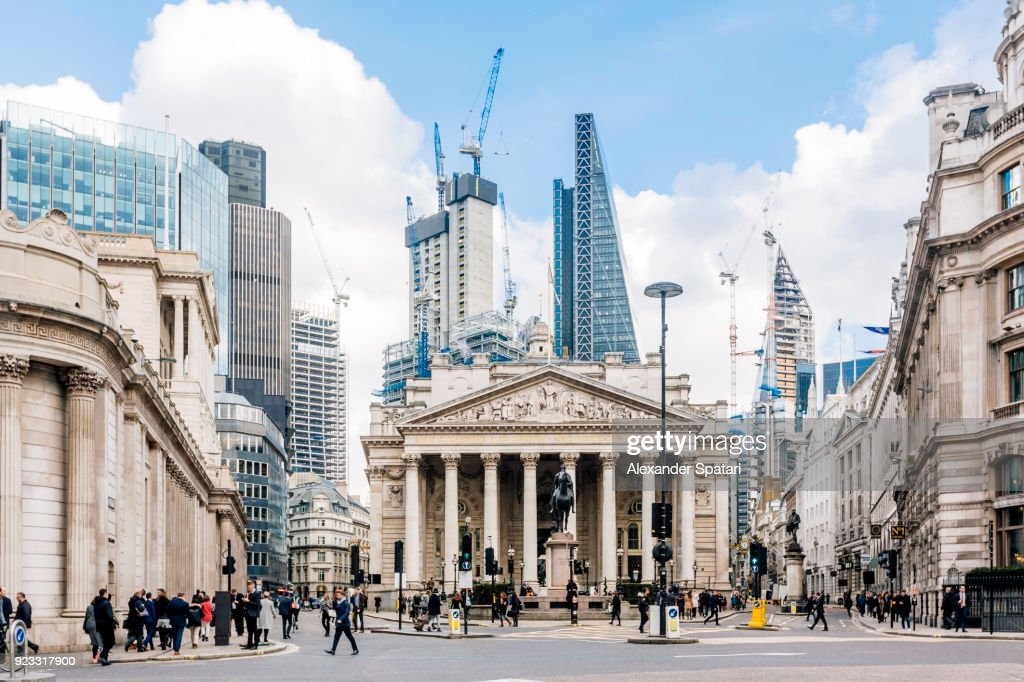 Street in City of London with Royal Exchange, Bank of England and new modern skyscrapers, England, UK : Stock Photo